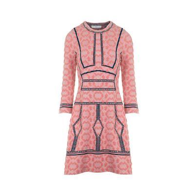 stitch point long a-line dress